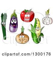 Happy Asparagus Eggplant Tomato Onion Corn And Garlic Characters
