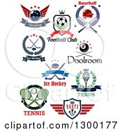 Clipart Of Sports Designs For Bowling Soccer Baseball Hockey Billiards Tennis And Darts With Text Royalty Free Vector Illustration