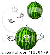 Clipart Of A Face Hands And Watermelons Royalty Free Vector Illustration