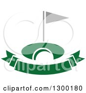 Clipart Of A Green Banner Golf Ball And Flag Royalty Free Vector Illustration