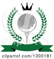 Clipart Of A Green Banner Golf Ball On A Tee Crown And Wreath Royalty Free Vector Illustration