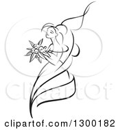 Clipart Of A Sketched Black And White Bride Holding A Bouquet Of Flowers And Facing Left 5 Royalty Free Vector Illustration
