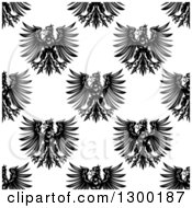 Clipart Of A Seamless Patterned Background Of Black Eagles On White 2 Royalty Free Vector Illustration