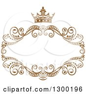 Clipart Of A Vintage Brown Swirl Floral Wedding Frame With A Crown Royalty Free Vector Illustration