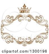 Vintage Brown Swirl Floral Wedding Frame With A Crown
