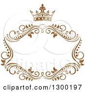 Clipart Of A Vintage Brown Swirl Floral Wedding Frame With A Crown 2 Royalty Free Vector Illustration