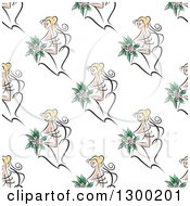 Clipart Of A Seamless Background Pattern Of A Blond Bride Royalty Free Vector Illustration