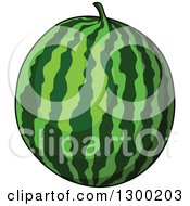 Clipart Of A Shiny Watermelon Royalty Free Vector Illustration