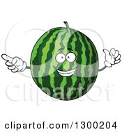 Clipart Of A Watermelon Character Pointing Royalty Free Vector Illustration