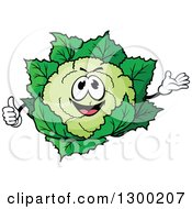 Clipart Of A Cartoon Happy Cauliflower Character Presenting And Giving A Thumb Up Royalty Free Vector Illustration