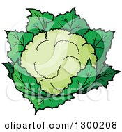 Clipart Of A Cartoon Cauliflower Royalty Free Vector Illustration