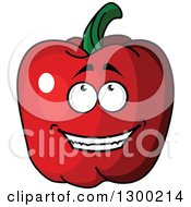 Clipart Of A Red Bell Pepper Character Looking Up Royalty Free Vector Illustration
