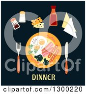 Clipart Of A Plate And Food Over Dinner Text On Black Royalty Free Vector Illustration