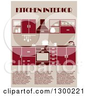 Clipart Of A Red And Tan Kitchen Interior With Sample Text Royalty Free Vector Illustration
