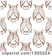 Clipart Of A Seamless Background Pattern Of Brown Sketched Owls Royalty Free Vector Illustration