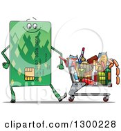Clipart Of A Credit Card Character Pushing A Grocery Cart Royalty Free Vector Illustration by Vector Tradition SM