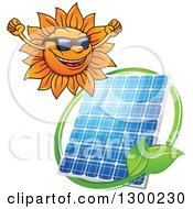 Clipart Of A Happy Sun And Solar Panel Encircled With A Swoosh And Green Leaves Royalty Free Vector Illustration