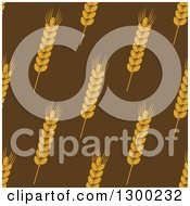 Clipart Of A Seamless Background Patterns Of Gold Wheat On Brown Royalty Free Vector Illustration
