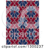 Clipart Of A Red And Blue Seamless Scandinavian Embroidery Floral Pattern Royalty Free Vector Illustration