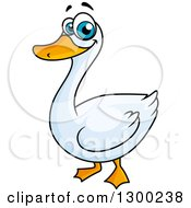 Clipart Of A Cartoon White Duck Or Goose Royalty Free Vector Illustration by Vector Tradition SM
