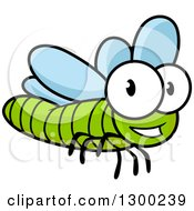 Clipart Of A Cartoon Happy Green Dragonfly Royalty Free Vector Illustration by Vector Tradition SM