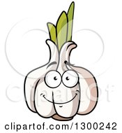 Clipart Of A Happy Garlic Character Royalty Free Vector Illustration