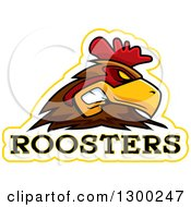 Clipart Of A Tough Rooster Bird Mascot Head With Text Royalty Free Vector Illustration by Cory Thoman