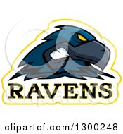 Clipart Of A Tough Raven Bird Mascot Head With Text Royalty Free Vector Illustration