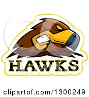 Clipart Of A Tough Hawk Bird Mascot Head With Text Royalty Free Vector Illustration