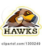 Tough Hawk Bird Mascot Head With Text