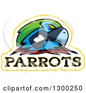Clipart Of A Tough Parrot Bird Mascot Head With Text Royalty Free Vector Illustration by Cory Thoman
