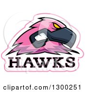 Clipart Of A Tough Pink Hawk Bird Mascot Head With Text Royalty Free Vector Illustration