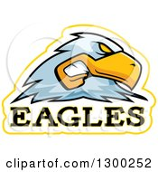 Clipart Of A Tough Bald Eagle Bird Mascot Head With Text Royalty Free Vector Illustration