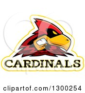 Clipart Of A Tough Cardinal Bird Mascot Head With Text Royalty Free Vector Illustration