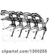 Clipart Of A Black And White Woodcut Chorus Line Of Dancing Ladies Royalty Free Vector Illustration