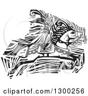 Clipart Of A Black And White Woodcut Woman Standing On A Jumping Horse In A Circus Act Royalty Free Vector Illustration