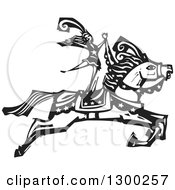 Clipart Of A Black And White Woodcut Woman Standing On A Leaping Horse In A Circus Act Royalty Free Vector Illustration