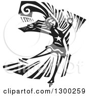 Clipart Of A Black And White Woodcut Female Figure Skater In Action Royalty Free Vector Illustration