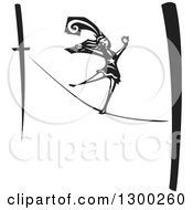 Clipart Of A Black And White Woodcut Woman Walking The Tight Rope In A Circus Act Royalty Free Vector Illustration