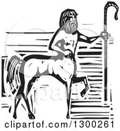 Clipart Of A Black And White Woodcut Fantasy Greek Centaur Horse Man With A Cane Royalty Free Vector Illustration