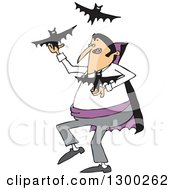 Clipart Of A Cartoon Vampire Juggling Bats Royalty Free Vector Illustration by djart