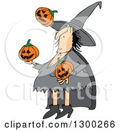 Clipart Of A Cartoon Witch Juggling Halloween Jackolantern Pumpkins Royalty Free Vector Illustration by djart