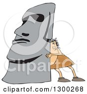 Clipart Of A Chubby Caveman Pushing Up A Monolith Royalty Free Vector Illustration