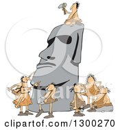 Clipart Of Team Of Cavemen Carving A Monolith Royalty Free Vector Illustration
