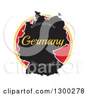 Clipart Of A Map And Imported From Germany One Hundred Percent Authentic Label Over A Burst On White Royalty Free Vector Illustration