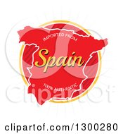 Clipart Of A Map And Imported From Spain One Hundred Percent Authentic Label Over A Burst On White Royalty Free Vector Illustration