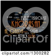 Clipart Of An ISIS And Al Qaeda Word Collage On Black Royalty Free Illustration