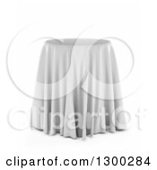 Clipart Of A 3d Round Presentation Pedestal Table Draped With A White Silk Cloth Over White Royalty Free Illustration