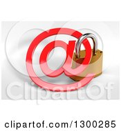 3d Secured Padlock And A Red Email Arobase At Symbol Over Shaded White