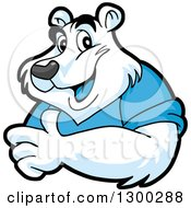 Clipart Of A Cartoon Polar Bear Mascot Giving A Thumb Up Royalty Free Vector Illustration